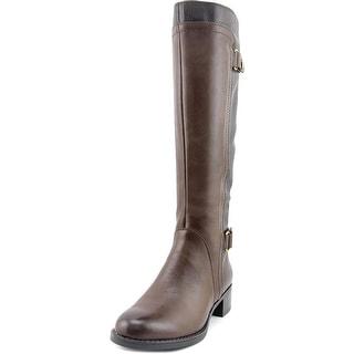 Franco Sarto Crash Women Round Toe Leather Brown Knee High Boot