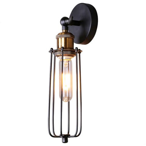 Black cage Edison industrial wall light