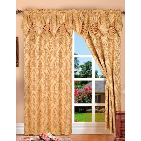 Penelopie Jacquard Rod Pocket Panel With Attached Valance, 54x84+18 Inches, 2-Pack - 54x84+18 inches