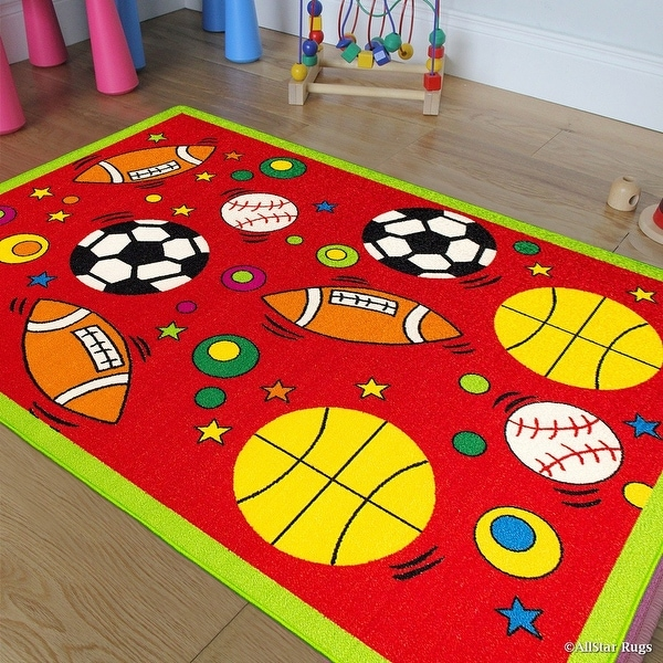 Allstar Rugs Kids Baby Room Area Rug Sports Football Basketball Soccer