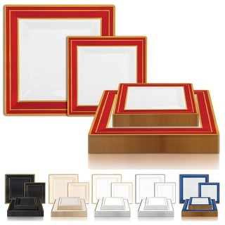 Link to Square Shiny Edge Rim Disposable Plastic Plate Packs - Party Supplies Similar Items in Dinnerware