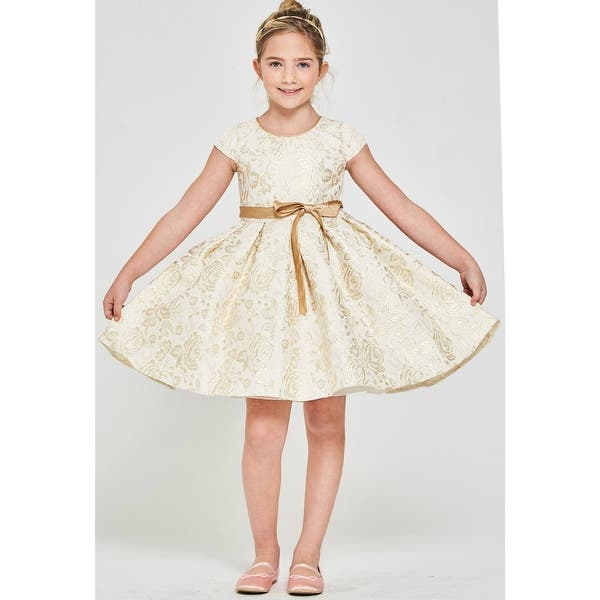 S Ivory Gold Shiny Rose Embossed Brocade Junior