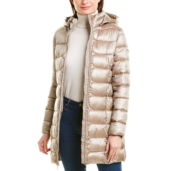 Via Spiga Packable Mid-Length Hooded Puffer Jacket. Opens flyout.