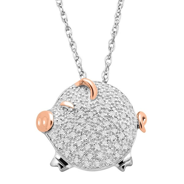 1/5 ct Diamond Pig Pendant in Sterling Silver & 14K Rose Gold