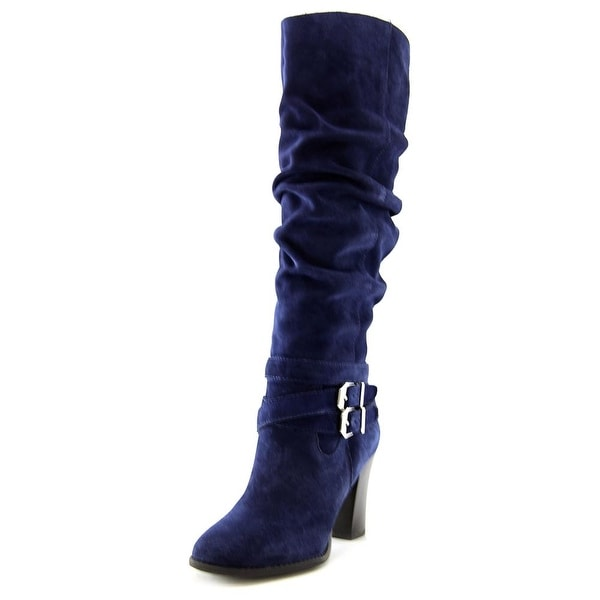 INC International Concepts Jordana Women Round Toe Suede Blue Knee High Boot