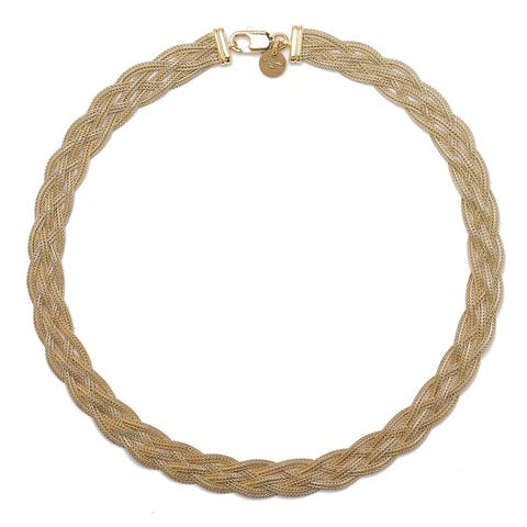 """Forever Last 18 k Gold Overlay 18"""" Yellow Braid Wheat Necklace"""