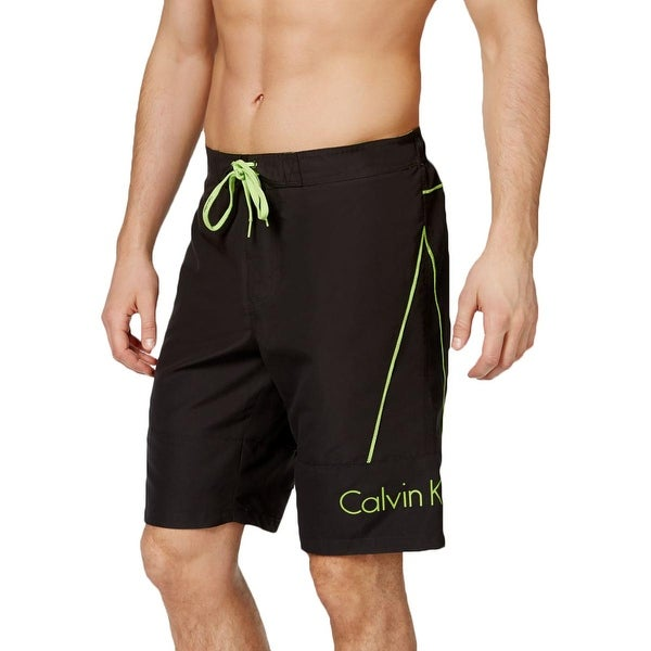 Calvin Klein Mens Contrast Trim Drawstring Swim Trunks