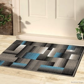 "Blue AllStar Doormat Accent Rug Modern. Contemporary Woven Area Rug. Drop-Stitch Technique. Carved Effect. (2' 0"" x 2' 11"")"