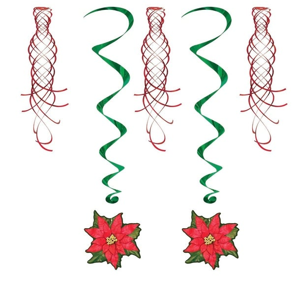 "Club Pack of 30 Winter Wonderland Themed Poinsettia and Shimmer Whirls Hanging Decorations 40"" - green"