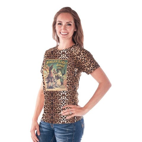 Cowgirl Tuff Western Shirt Womens S/S Leopard Rodeo Brown