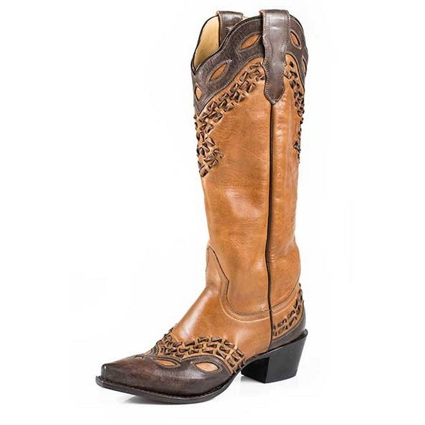 Stetson Western Boots Womens Alexa Burnished Tan