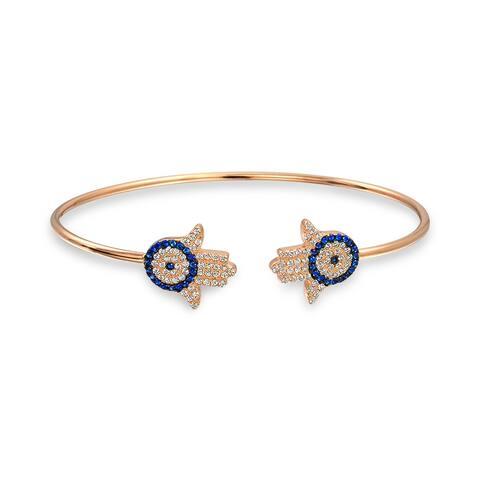 Hamsa Hand Evil Eye Bangle Cuff Bracelet Rose Gold Plated Sterling