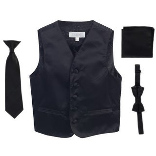 Black Vest Necktie Bowtie Pocket Square Toddler Boys Set 2T-3T
