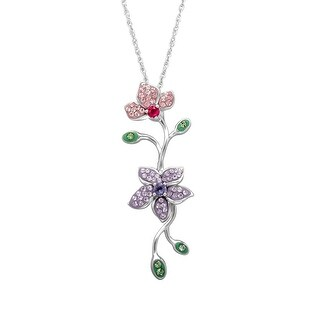 Crystaluxe Flower Pendant with Swarovski Crystals in Sterling Silver - multi-color