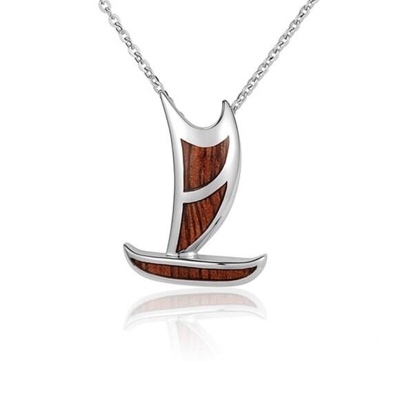 "Canoe Necklace Koa Wood Sterling Silver Polynesian Pendant 18"" Chain"
