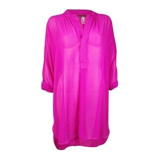 Tommy Bahama Women's Chiffon Tunic Cover Up (S, Razzberry) - razzberry - S