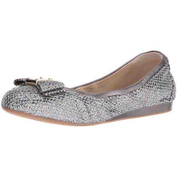 Cole Haan Women's Tali Bow Ballet Flat - silver/gunmetal glitter