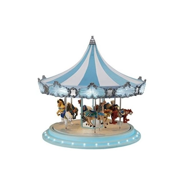 Mr. Christmas Animated Musical Frosted Carousel Decoration #79151 - BLue