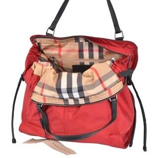 Burberry Red Nylon Nova Check Purse Handbag Shopper