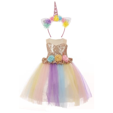 Baby Girls Gold Multi Unicorn Sequin Tulle Headband Flower Girl Dress