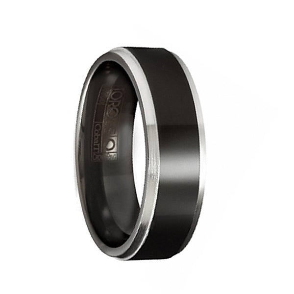 NOOK Torque Black Cobalt Wedding Band Raised Center Polished Finish with White Beveled Edges by Crown Ring - 7 mm
