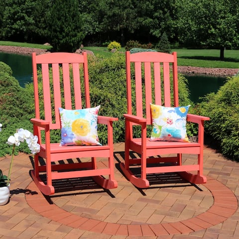 Sunnydaze All-Weather Rocking Chair Set of 2 - Faux Wood Design - Salmon - Set of 2