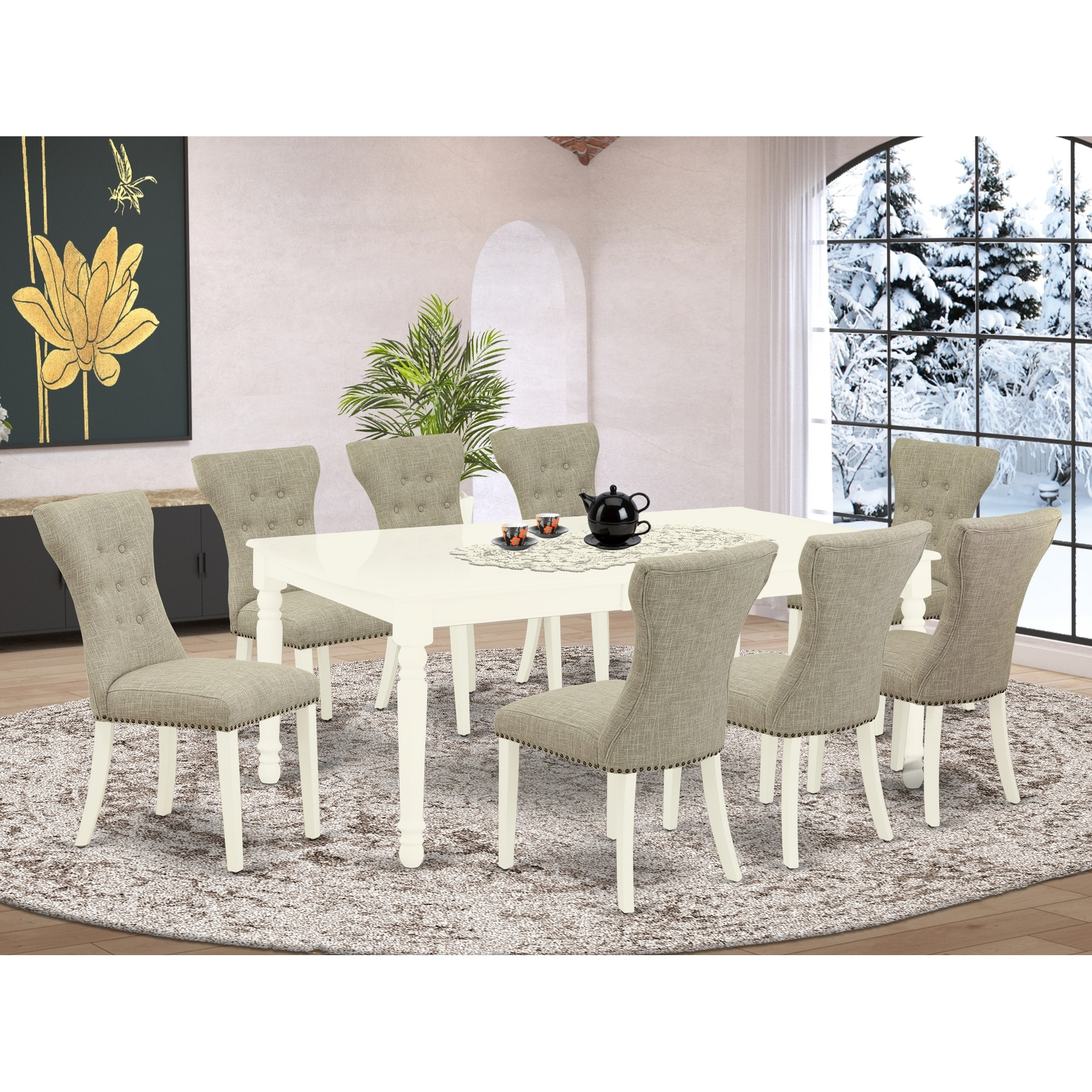 Doga9 Lwh 35 9 Piece Small Dining Table Set 8 Dining Room Chairs And Butterfly Leaf Dinner Table High Back Linen White Finish Overstock 32085572