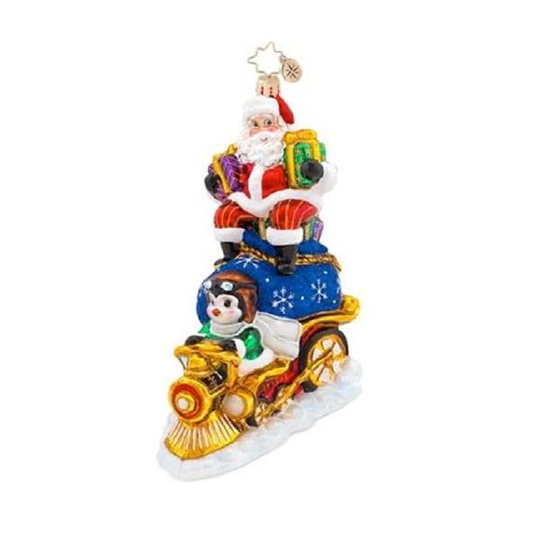 Christopher Radko Glass Riding High Nick Santa on a Train Christmas Ornament #1017572