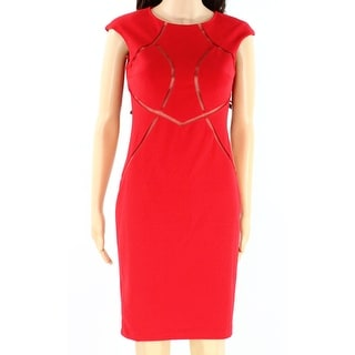 INC NEW Red Womens Size 0 Crewneck Mesh-Inset Front Sheath Dress