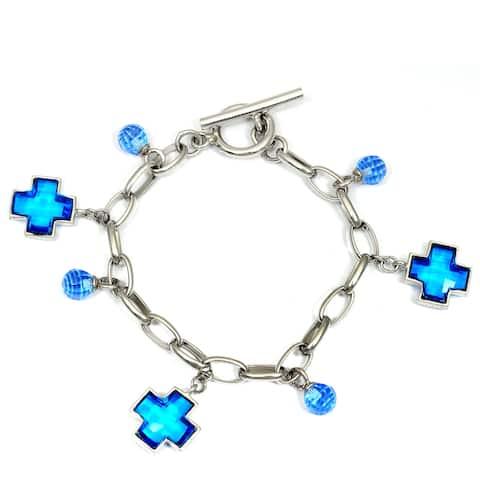Crystal Quartz, Cubic Zirconia Sterling Silver Fancy Chain Bracelet by Orchid Jewelry