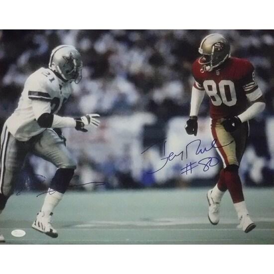 best service 8c022 eb2a4 Deion Sanders Jerry Rice Autographed Dallas CowboysSan Francisco 49ers  16x20 Photo JSA