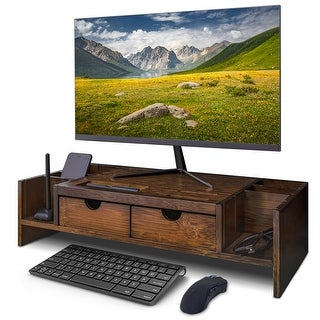 Bamboo Computer Monitor Stand Riser with Storage Organizer & Drawers
