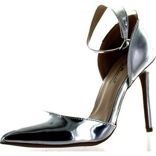 Bamboo Womens Riseup-08 Dress Pumps Shoes - silver patent