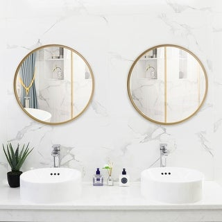 "Link to 20""-30"" Round Art Wall Mirror Metal Frame for Entryways Washrooms Living Rooms Decor Similar Items in Mirrors"
