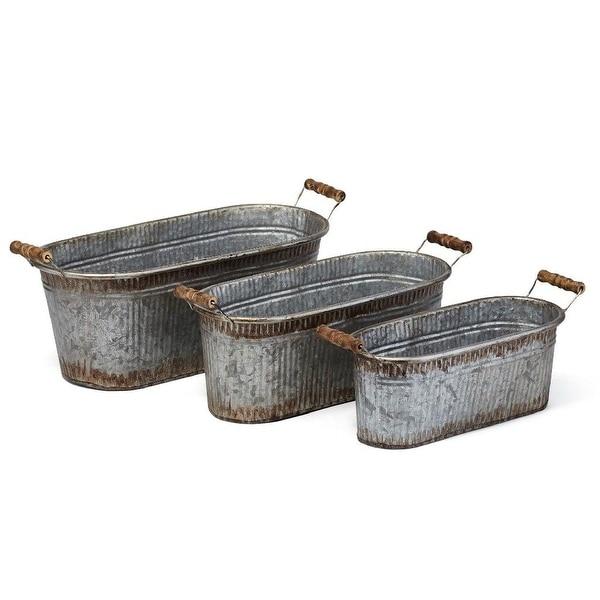"Set of 3 Rustic Gray Prairie Planters with Fir Wood Handles 18.5"" - N/A"