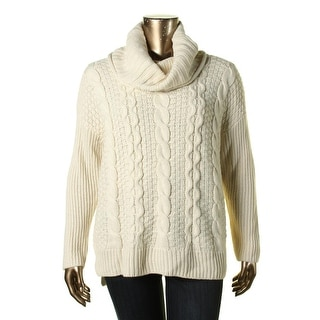 Bass Womens Cable Knit Cowl Neck Pullover Sweater - L