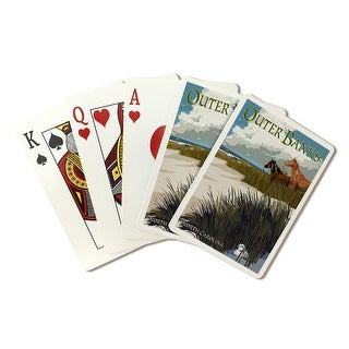 Outer Banks, NC - Horses & Dunes - LP Artwork (Poker Playing Cards Deck)