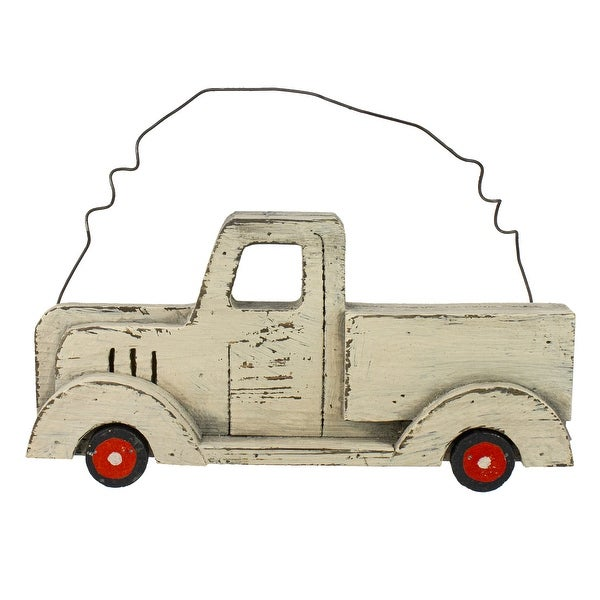 """11.75"""" White Wooden Pick Up Truck Fall Harvest Wall Hanging - N/A"""