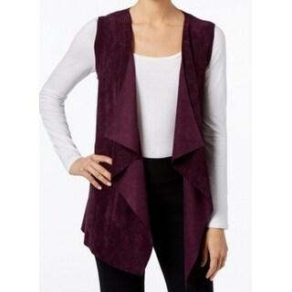 Calvin Klein NEW Purple Womens Size XS Faux-Suede Flyaway Vest Sweater