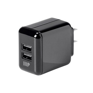 Monoprice 2-Port USB Wall Charger 4.2A for Apple and Android, Black