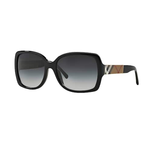 Burberry Women's BE4160 34338G Black Plastic Square Sunglasses - Large