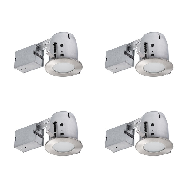 4 in. Brushed Nickel IC Rated Recessed Lighting Kit (4-Pack) - 3.88. Opens flyout.