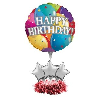 "Pack of 4 ""Happy Birthday"" Multi-Colored Star Foil Party Balloon Centerpiece Kits 9"" - Multi"