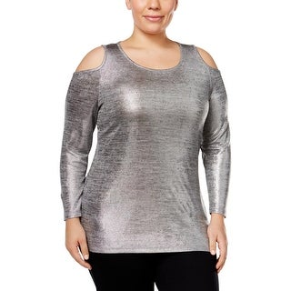 MICHAEL Michael Kors Womens Plus Blouse Metallic Long Sleeves