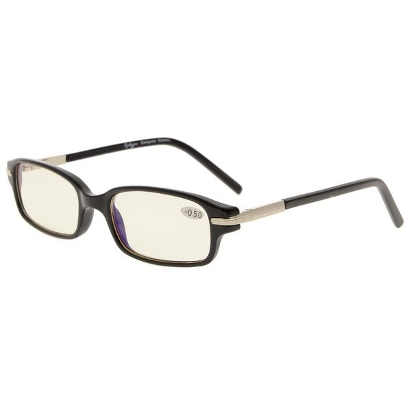Eyekepper Spring Temple Yellow Tinted Lenses UV Protection, Anti Blue Rays Reading Glasses Readers Black Frame+3.5
