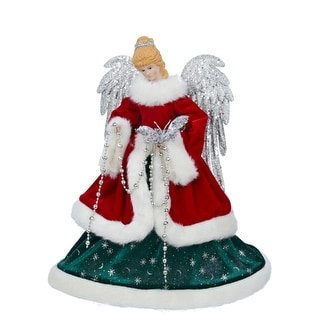 "16"" Festive Red, Silver and Green Decorative Angel Christmas Tree Topper - Unlit"