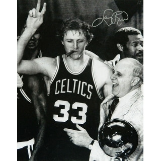 Larry Bird Celtics Cigar Celebration With Red Auerbach BW 16x20 Photo