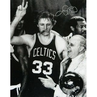 Larry Bird Celtics Cigar Celebration With Red Auerbach BW 16x20 Photo