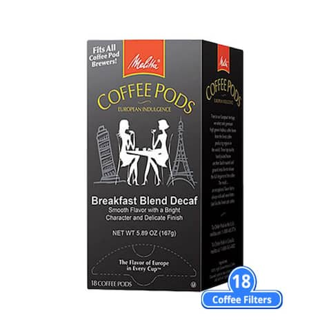 Melitta 75413 Breakfast Blend Decaf 18 Counts (Single Pack) Breakfast Blend Decaf Coffee Pods