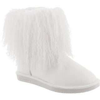 Bearpaw Women's Boo Solids Furry Boot White Curly Lamb Hair/Cow Suede